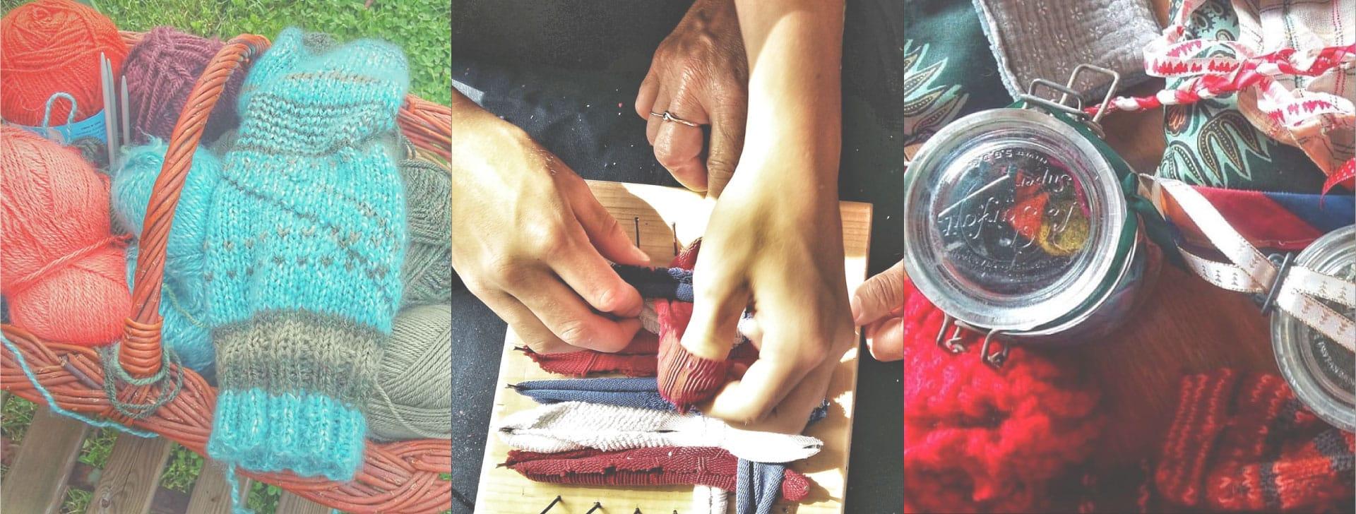 tricot, bricolage ou toute autre fabrication maison sont mis en place lors des ateliers zero dechet de l'ecolieu la Gataudiere