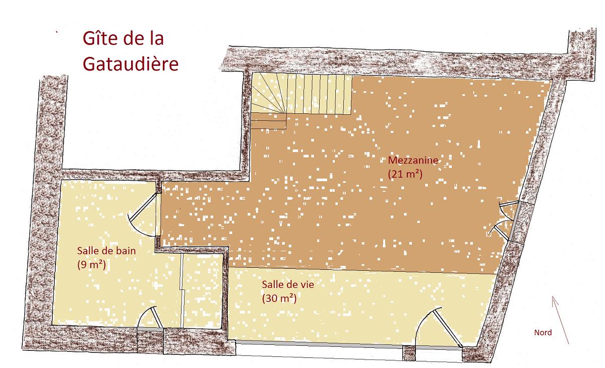 Plan de votre gite Vendée près de Fontenay Le Comte- Ecolieu La Gataudière